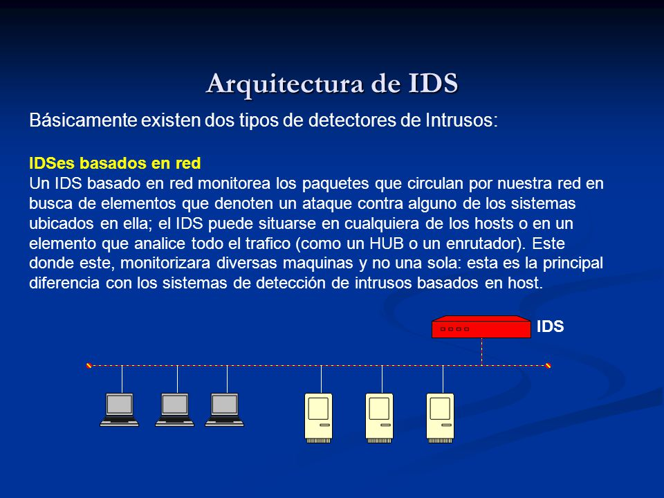 Arquitectura de IDS Básicamente existen dos tipos de detectores de Intrusos: IDSes basados en red.
