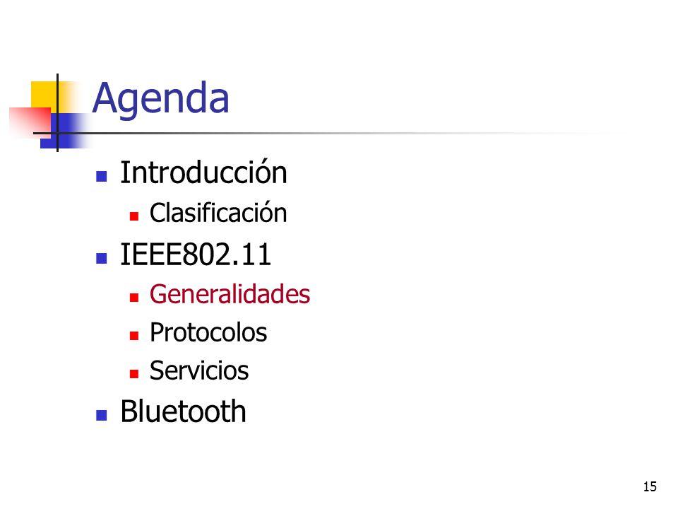Agenda Introducción IEEE802.11 Bluetooth Clasificación Generalidades