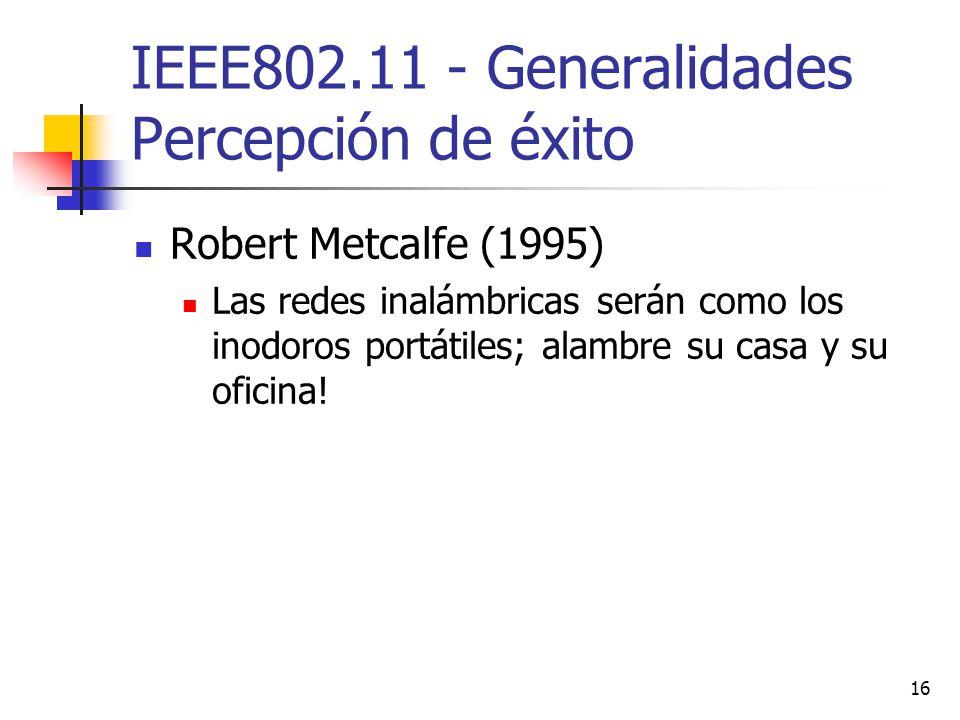 IEEE802.11 - Generalidades Percepción de éxito