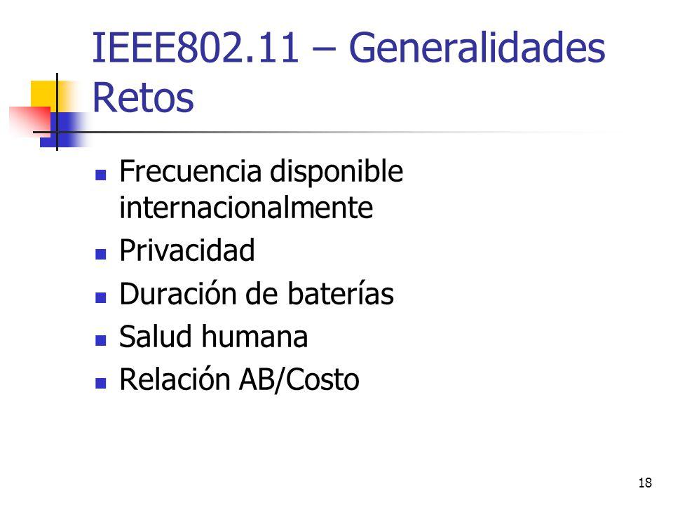 IEEE802.11 – Generalidades Retos