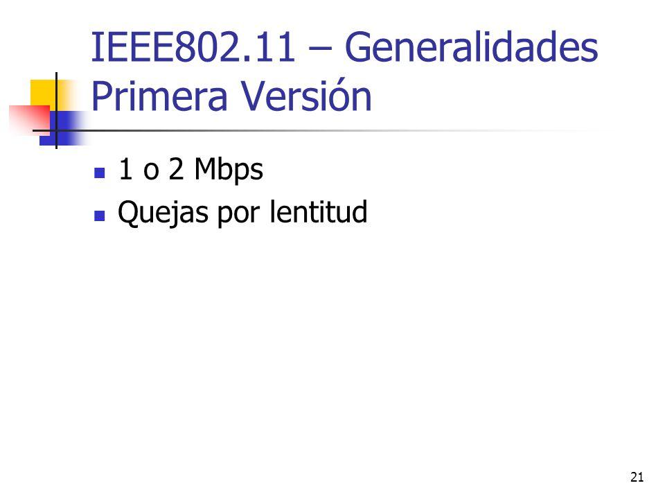 IEEE802.11 – Generalidades Primera Versión
