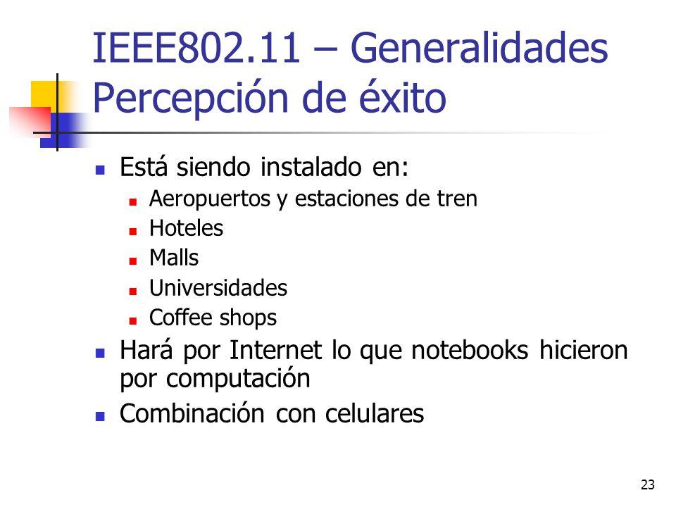 IEEE802.11 – Generalidades Percepción de éxito