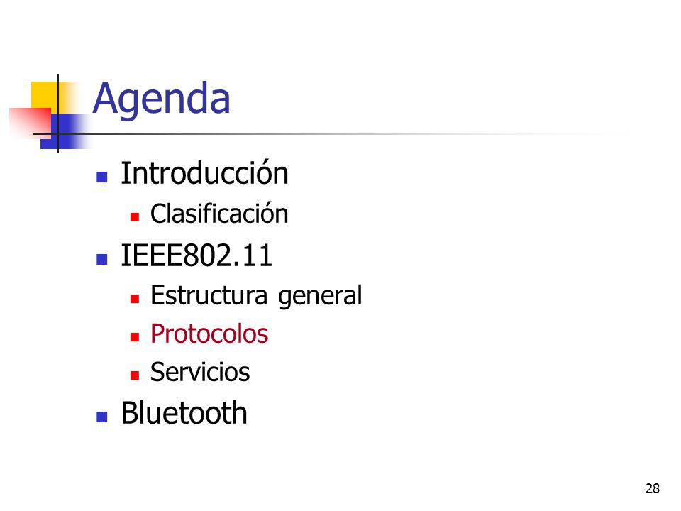 Agenda Introducción IEEE802.11 Bluetooth Clasificación