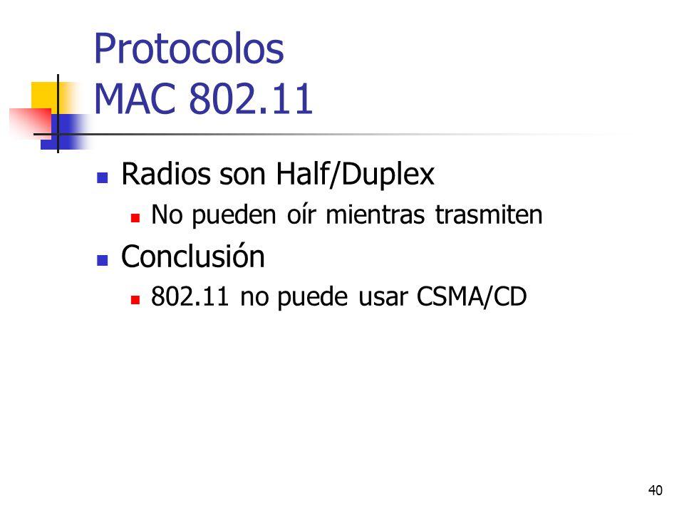 Protocolos MAC 802.11 Radios son Half/Duplex Conclusión