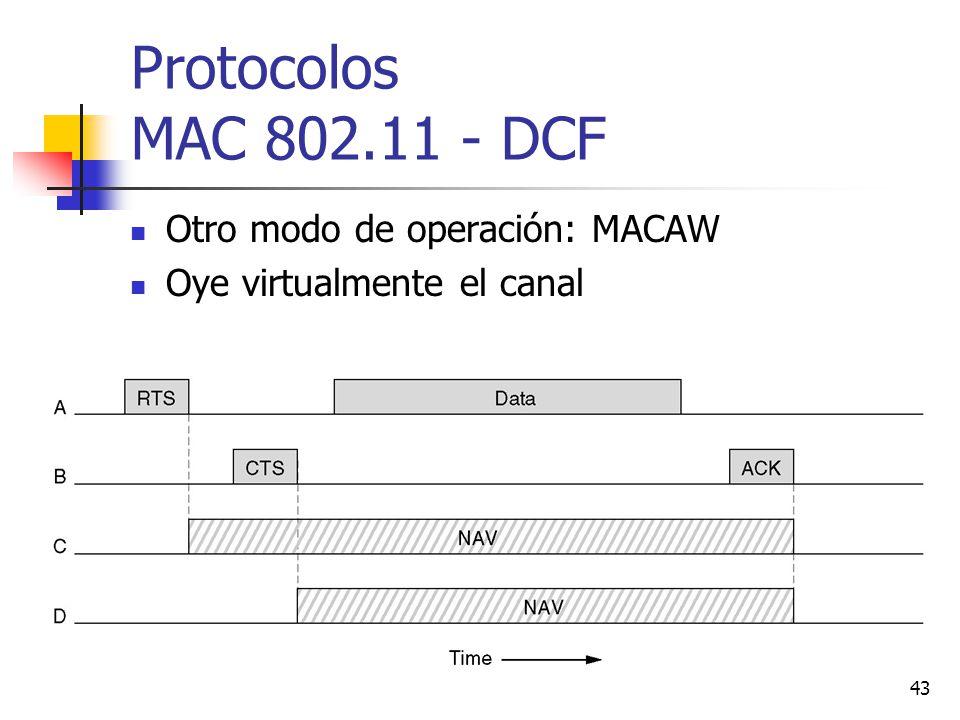 Protocolos MAC 802.11 - DCF Otro modo de operación: MACAW