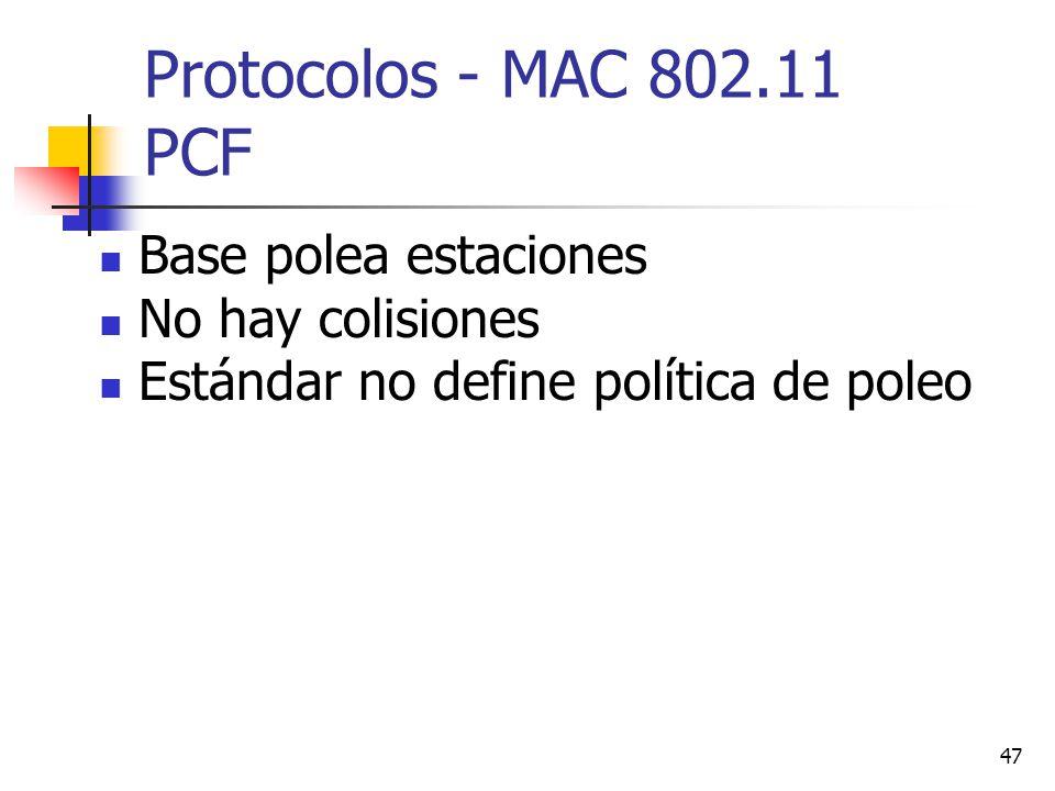 Protocolos - MAC 802.11 PCF Base polea estaciones No hay colisiones