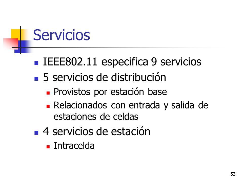 Servicios IEEE802.11 especifica 9 servicios