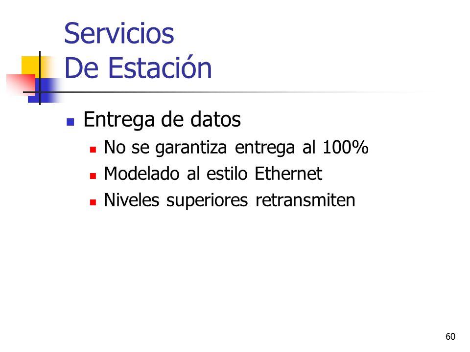 Servicios De Estación Entrega de datos No se garantiza entrega al 100%