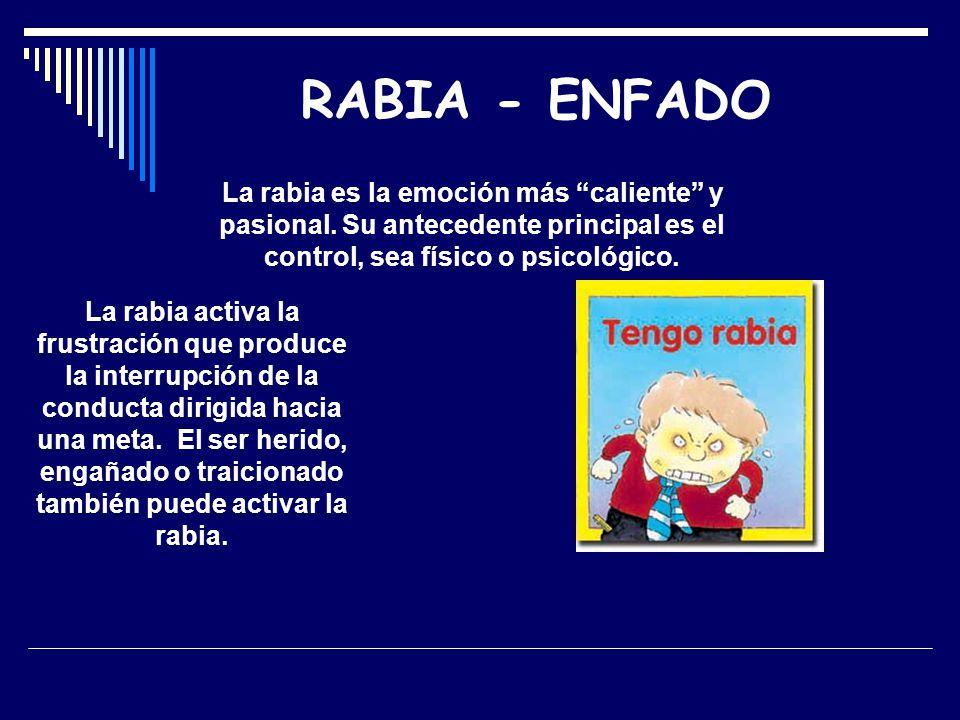 RABIA - ENFADO La rabia es la emoción más caliente y pasional. Su antecedente principal es el control, sea físico o psicológico.