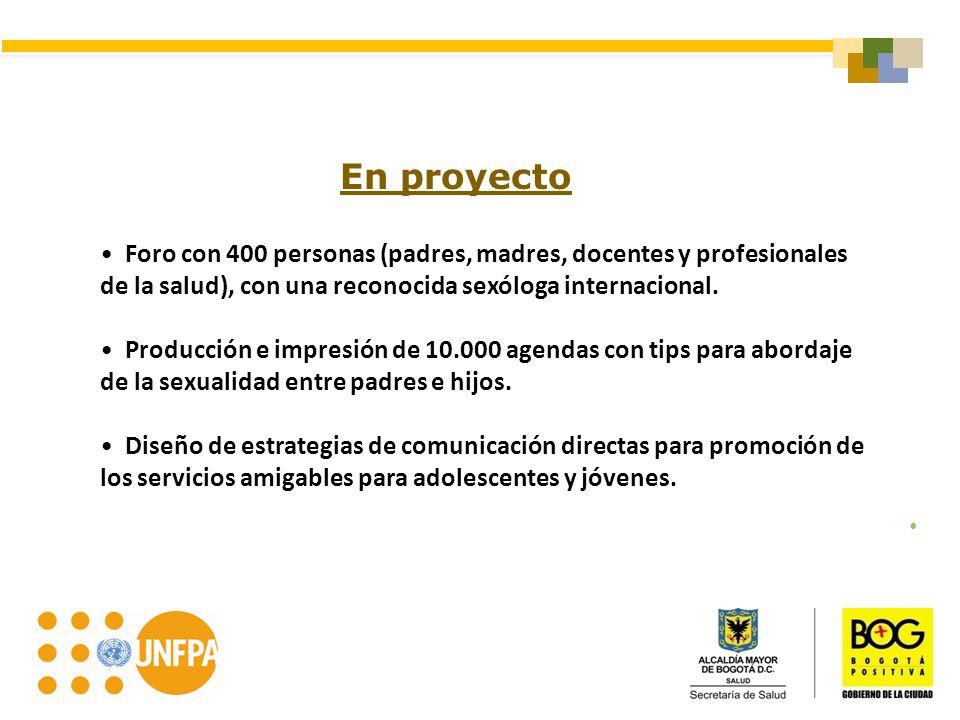 En proyecto Foro con 400 personas (padres, madres, docentes y profesionales de la salud), con una reconocida sexóloga internacional.