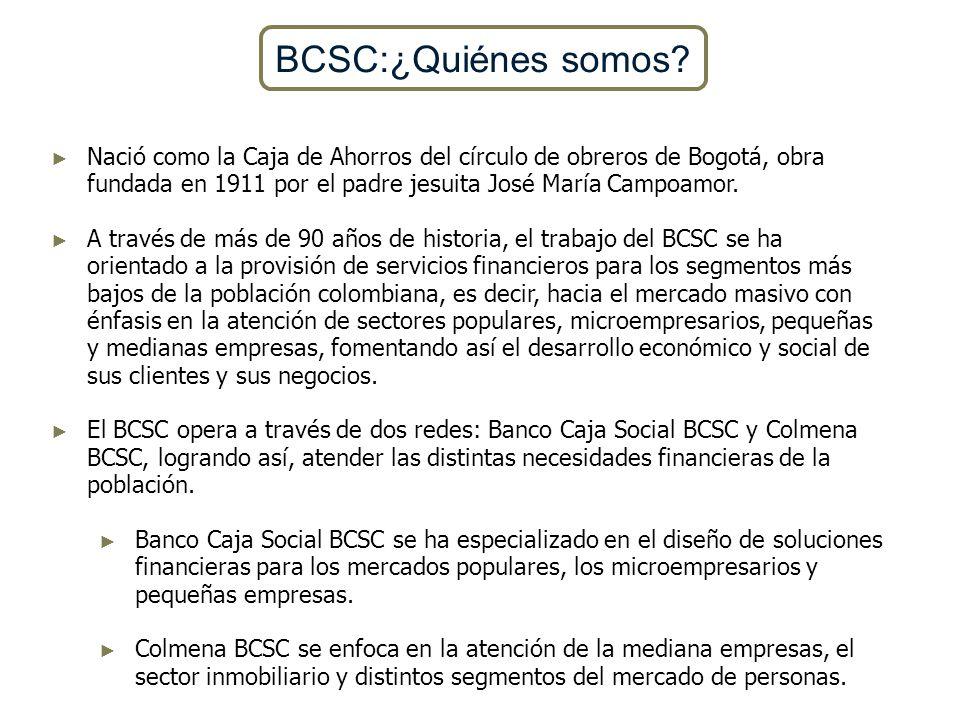 BCSC:¿Quiénes somos Nació como la Caja de Ahorros del círculo de obreros de Bogotá, obra fundada en 1911 por el padre jesuita José María Campoamor.