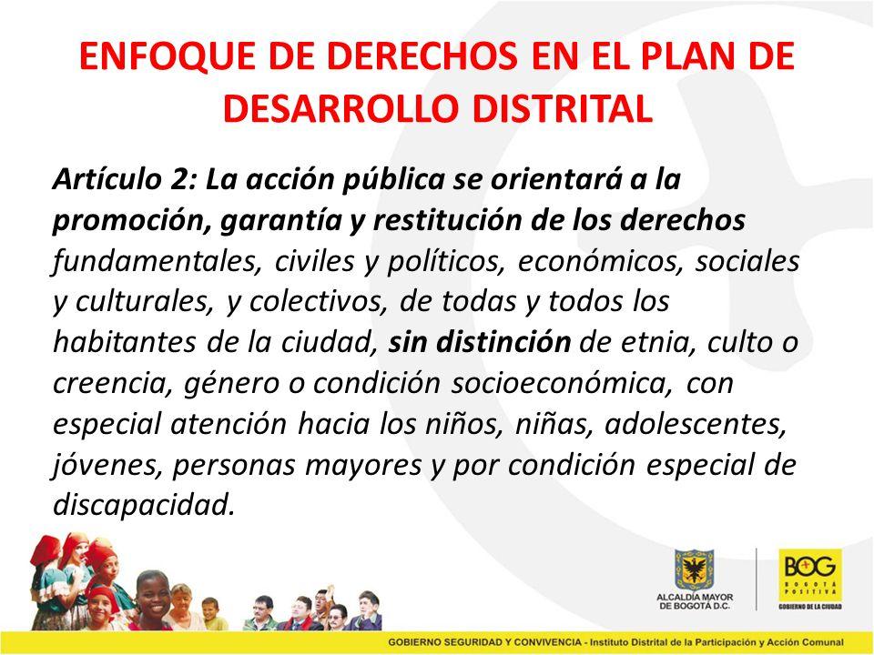 ENFOQUE DE DERECHOS EN EL PLAN DE DESARROLLO DISTRITAL