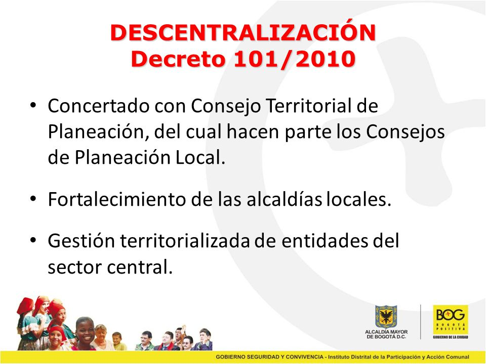 DESCENTRALIZACIÓN Decreto 101/2010
