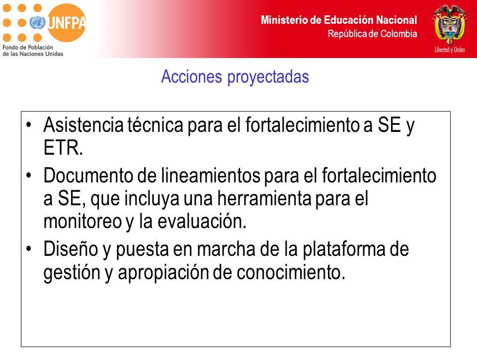 Asistencia técnica para el fortalecimiento a SE y ETR.