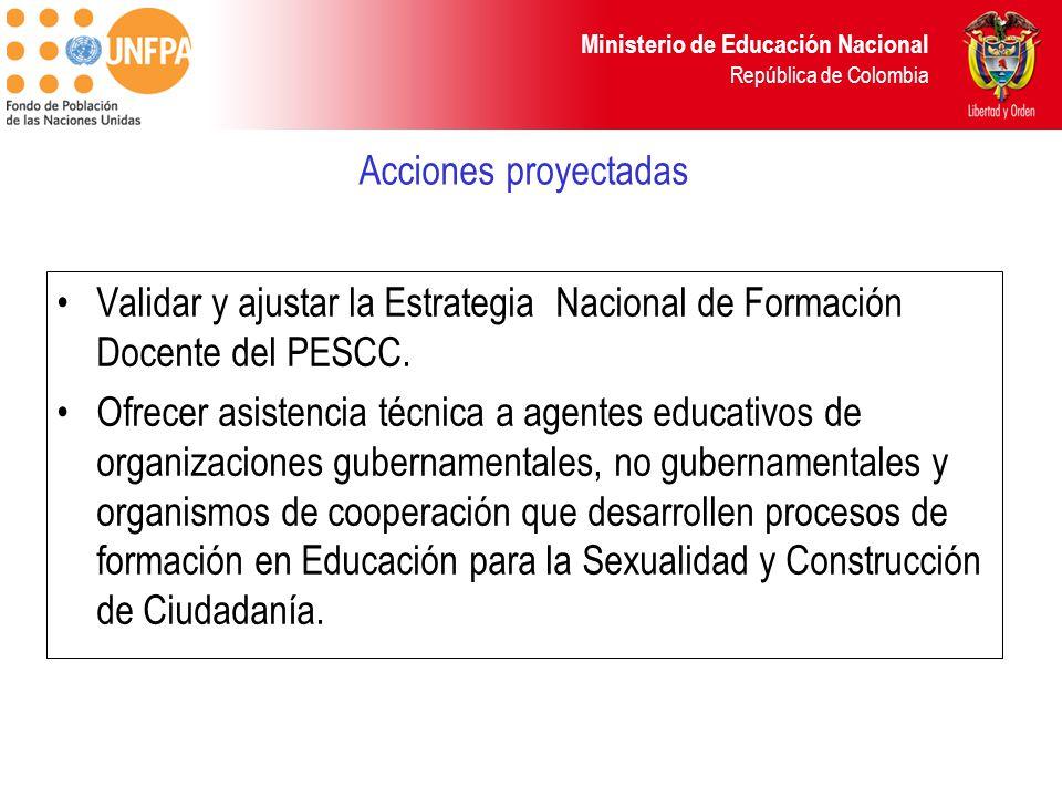 Acciones proyectadas Validar y ajustar la Estrategia Nacional de Formación Docente del PESCC.