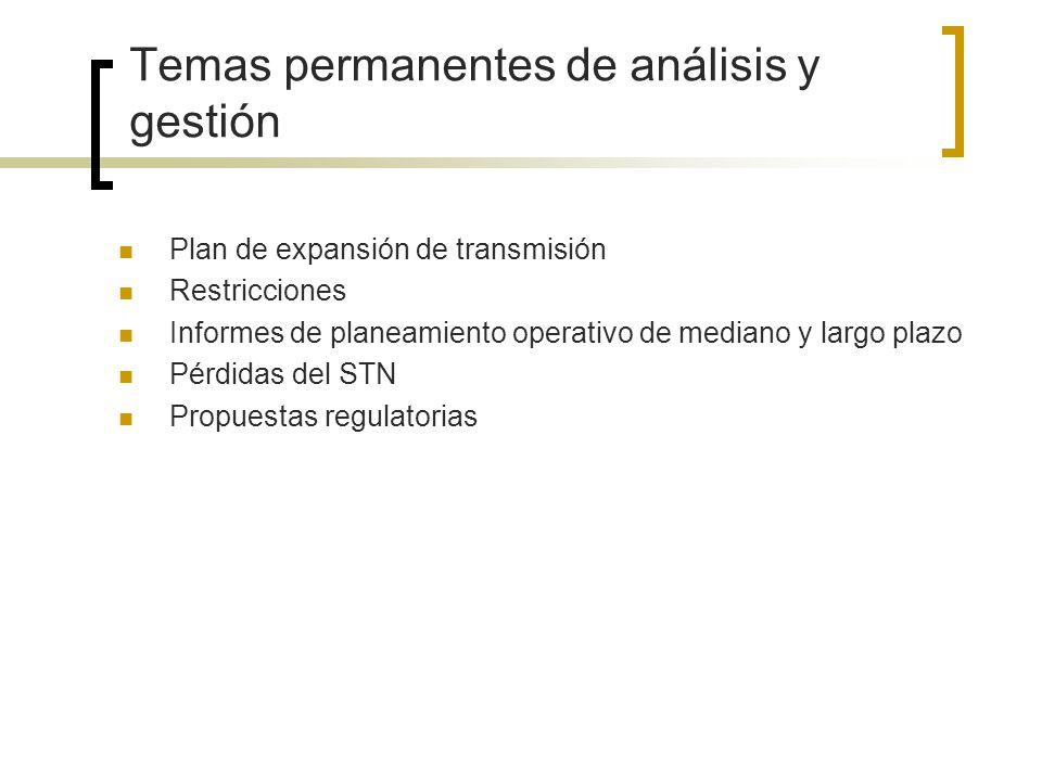 Temas permanentes de análisis y gestión