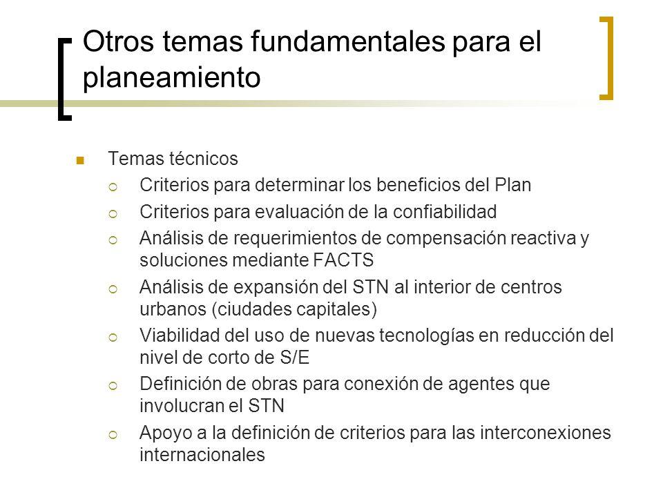 Otros temas fundamentales para el planeamiento