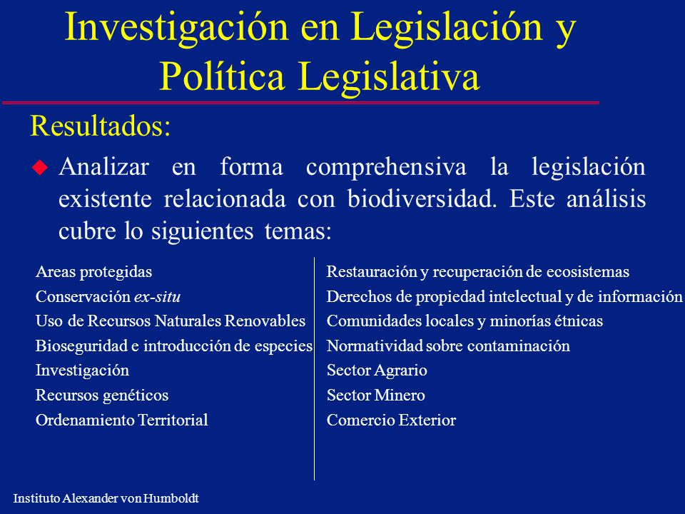 Investigación en Legislación y Política Legislativa