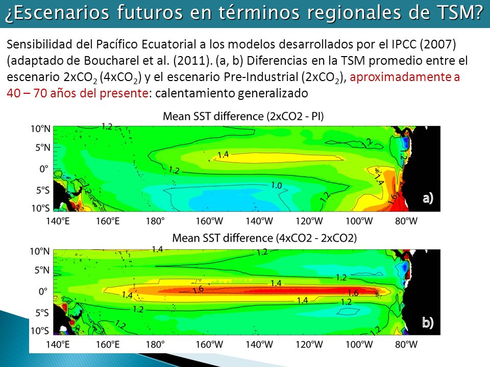 ¿Escenarios futuros en términos regionales de TSM