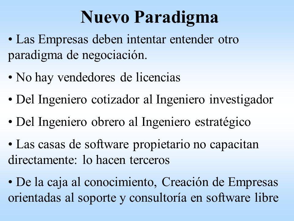 Nuevo Paradigma Las Empresas deben intentar entender otro paradigma de negociación. No hay vendedores de licencias.