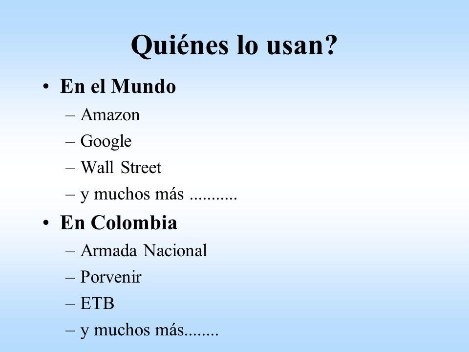 Quiénes lo usan En el Mundo En Colombia Amazon Google Wall Street