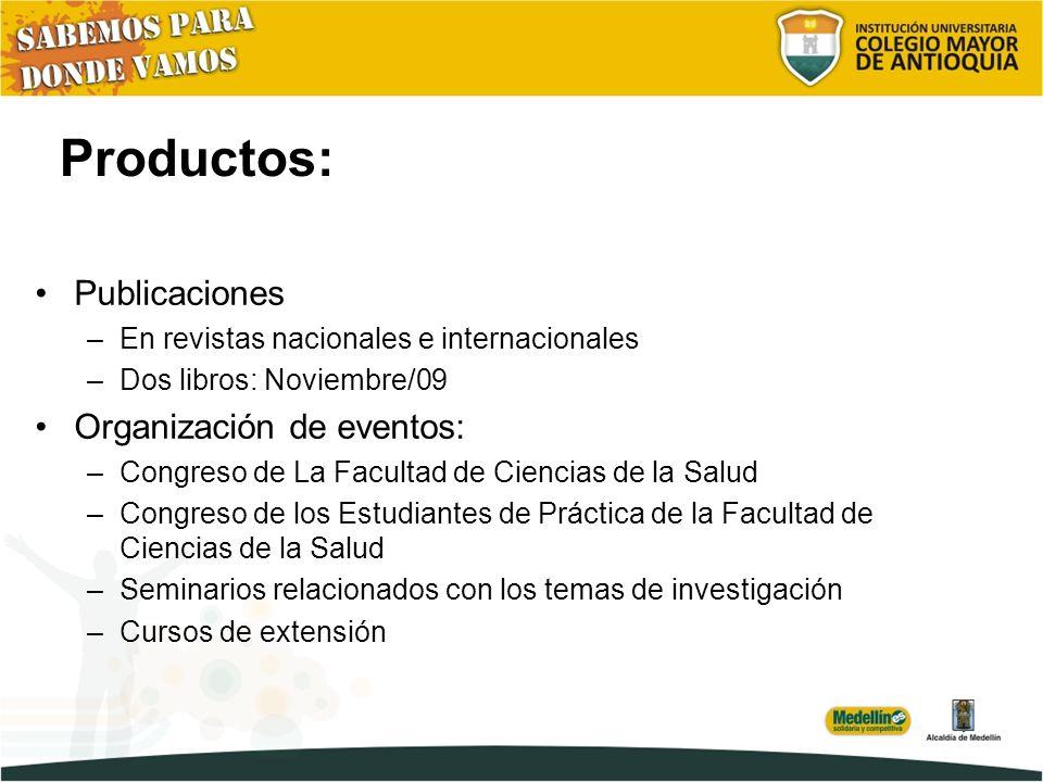 Productos: Publicaciones Organización de eventos: