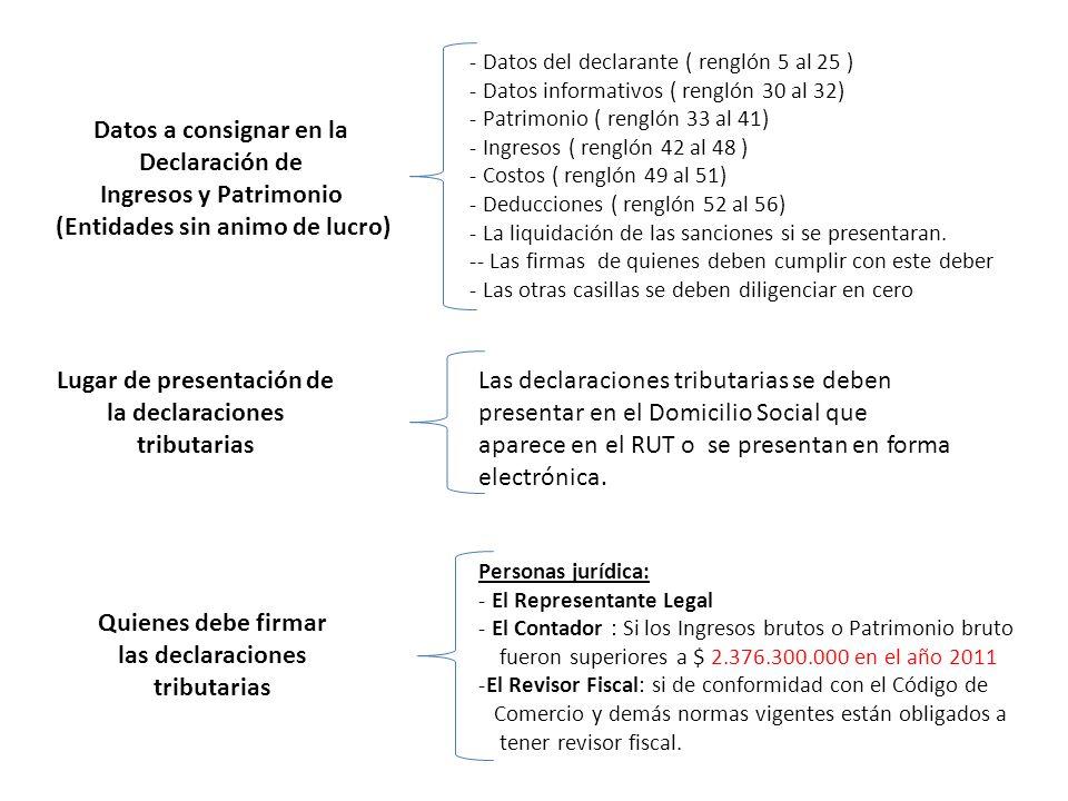 Datos a consignar en la Declaración de Ingresos y Patrimonio