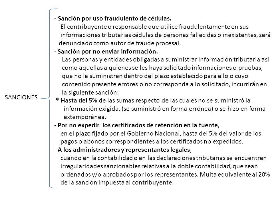 - Sanción por uso fraudulento de cédulas.