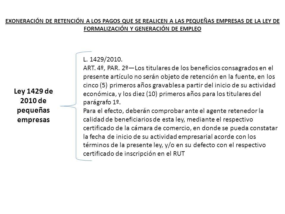 Ley 1429 de 2010 de pequeñas empresas