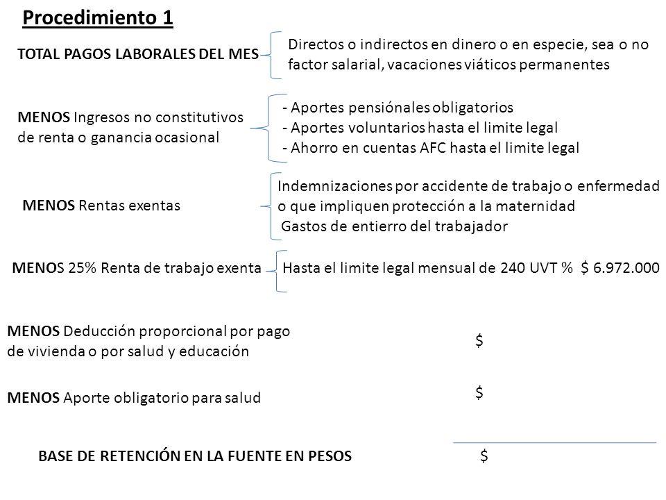 Procedimiento 1 Directos o indirectos en dinero o en especie, sea o no factor salarial, vacaciones viáticos permanentes.