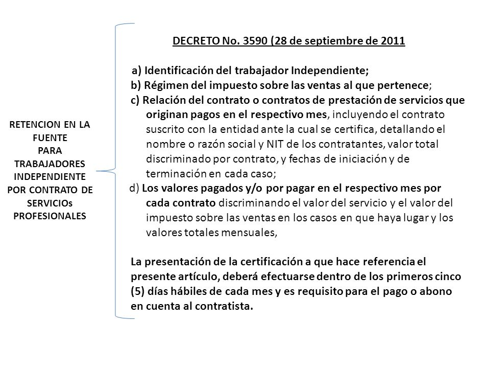 DECRETO No. 3590 (28 de septiembre de 2011