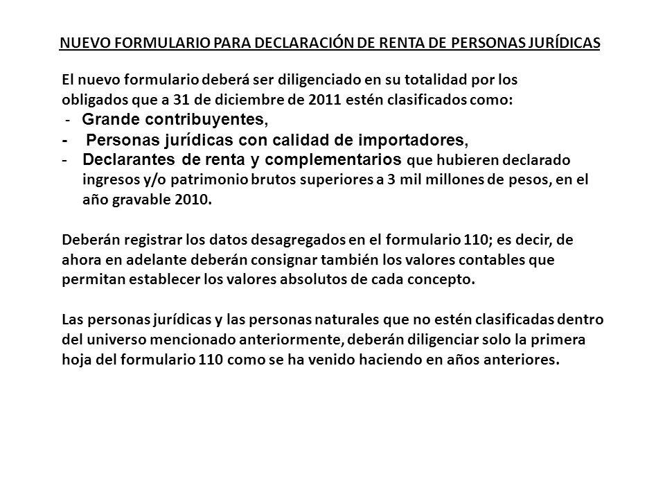 NUEVO FORMULARIO PARA DECLARACIÓN DE RENTA DE PERSONAS JURÍDICAS