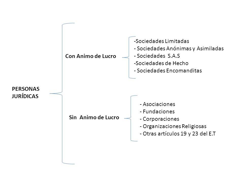 Sociedades Limitadas Sociedades Anónimas y Asimiladas. Sociedades S.A.S. Sociedades de Hecho. Sociedades Encomanditas.