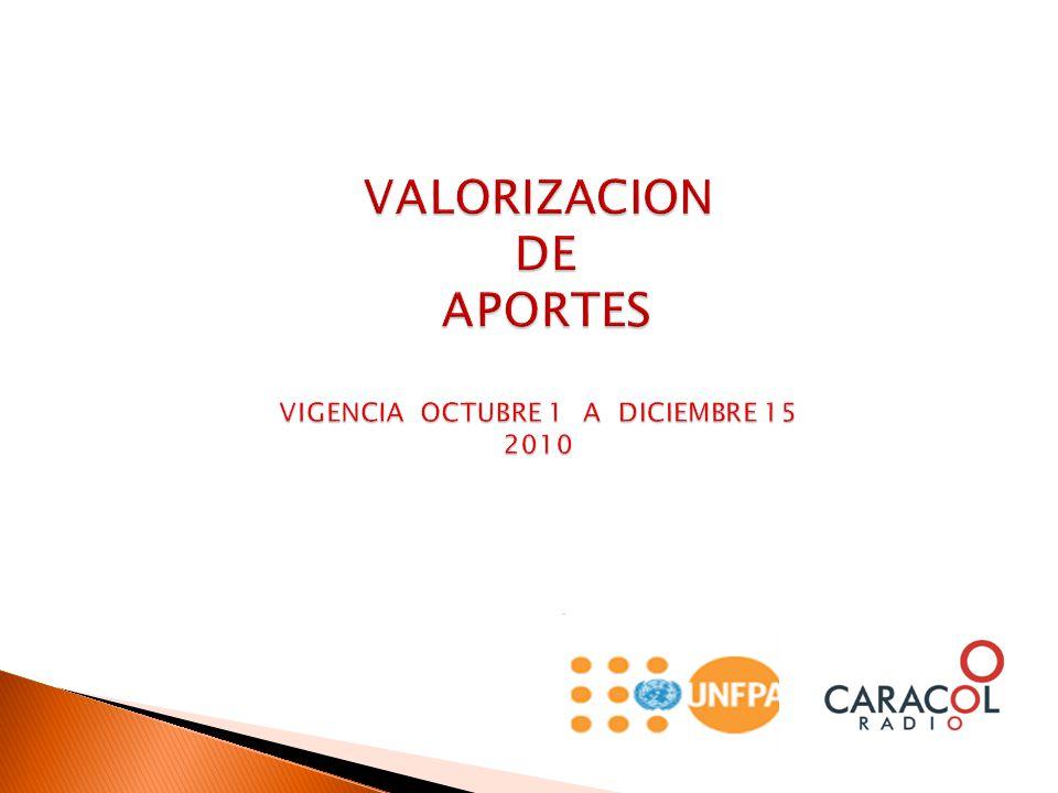 VALORIZACION DE APORTES VIGENCIA OCTUBRE 1 A DICIEMBRE 15 2010