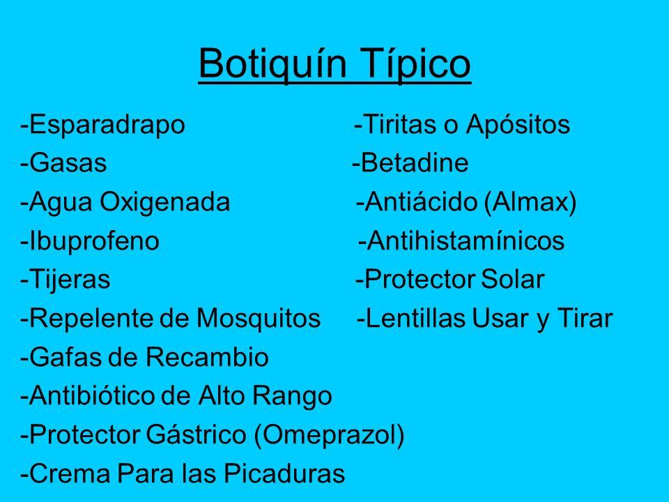 Botiquín Típico -Esparadrapo -Tiritas o Apósitos -Gasas -Betadine