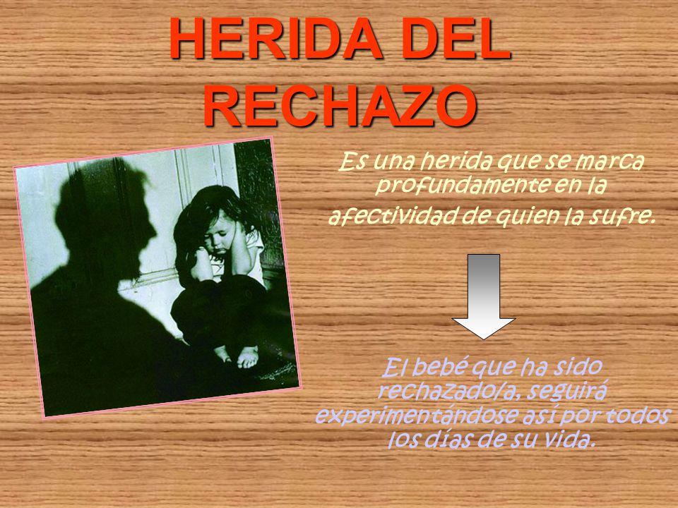 HERIDA DEL RECHAZO Es una herida que se marca profundamente en la afectividad de quien la sufre.