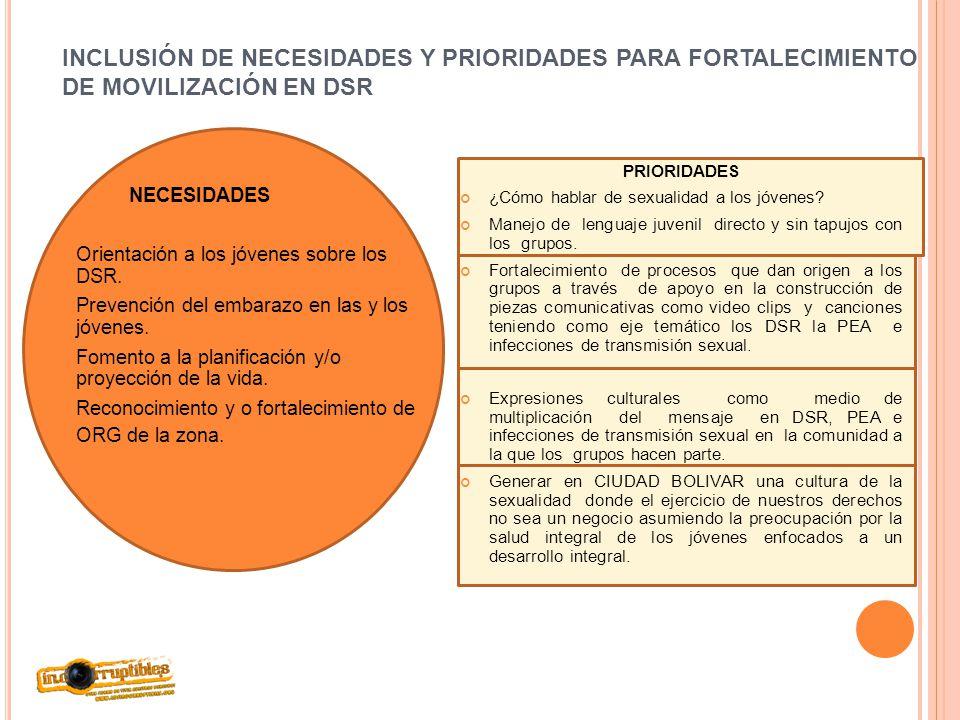 INCLUSIÓN DE NECESIDADES Y PRIORIDADES PARA FORTALECIMIENTO DE MOVILIZACIÓN EN DSR