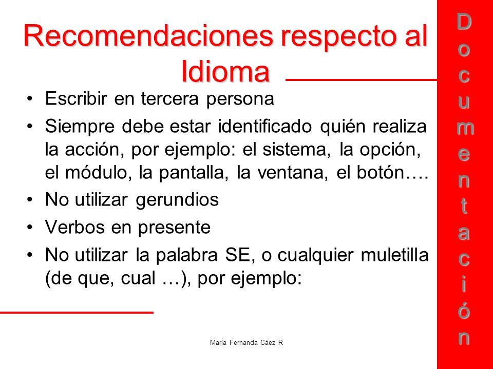 Recomendaciones respecto al Idioma