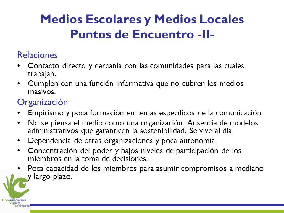 Medios Escolares y Medios Locales Puntos de Encuentro -II-