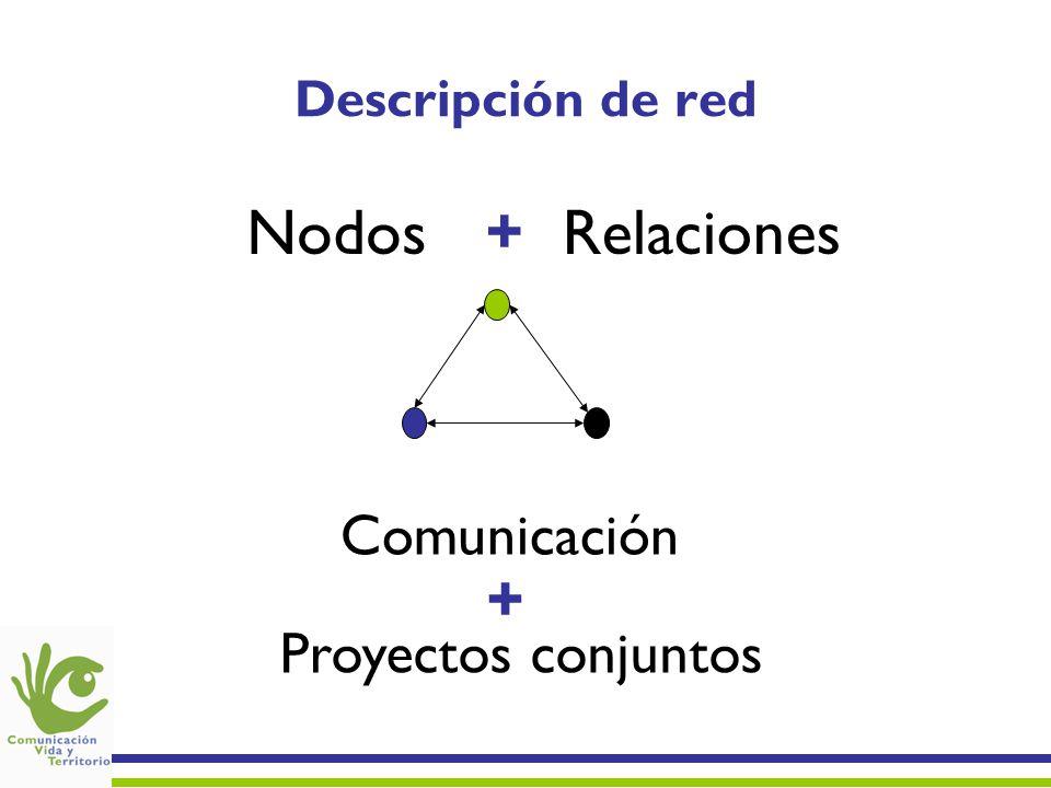 Nodos + Relaciones + Comunicación Proyectos conjuntos