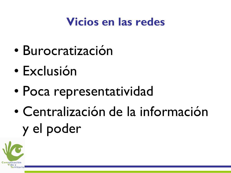 Poca representatividad Centralización de la información y el poder
