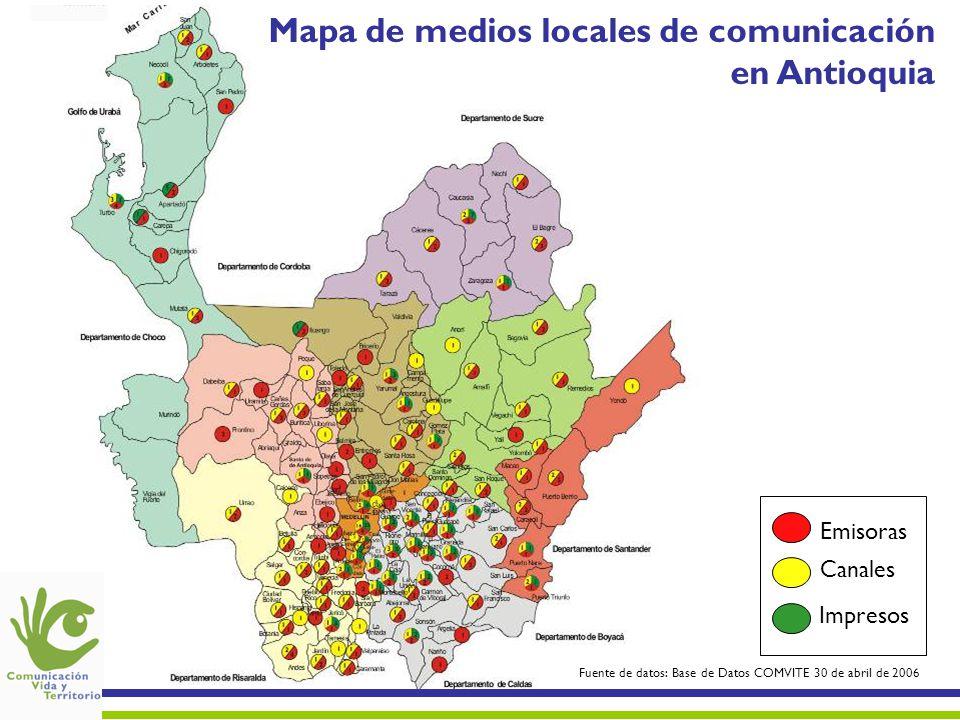 Mapa de medios locales de comunicación en Antioquia