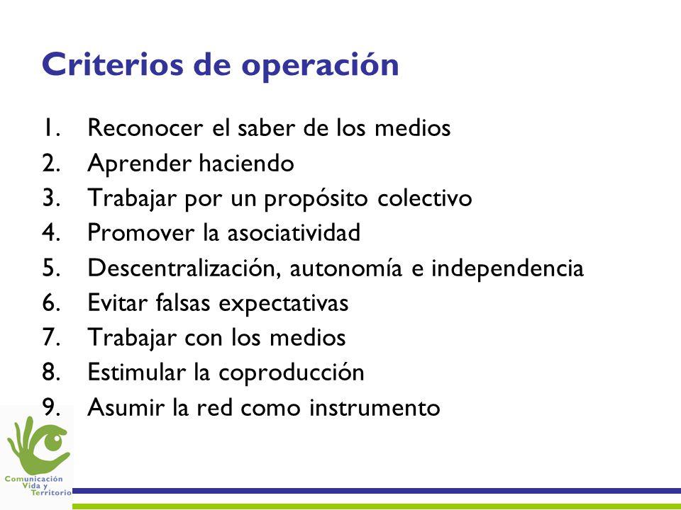 Criterios de operación