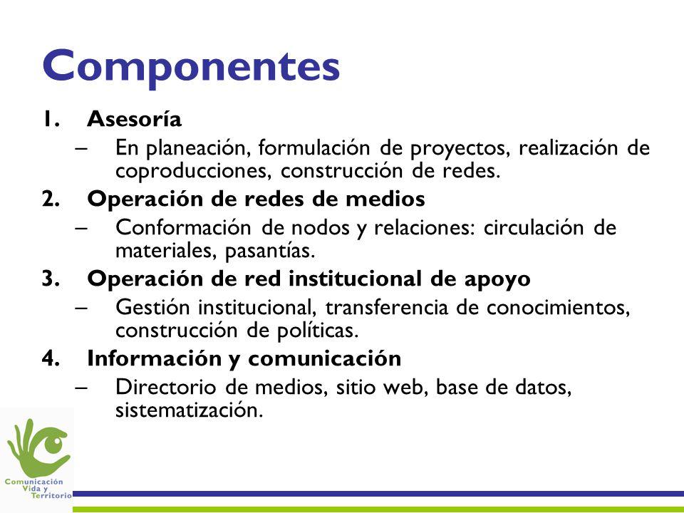 Componentes Asesoría. En planeación, formulación de proyectos, realización de coproducciones, construcción de redes.
