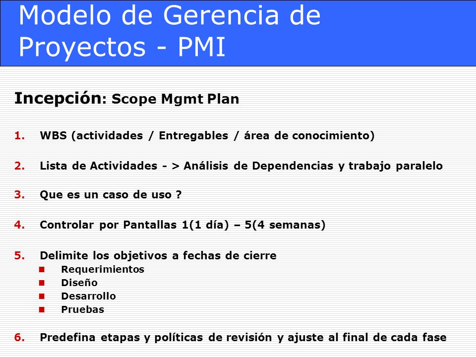 Modelo de Gerencia de Proyectos - PMI