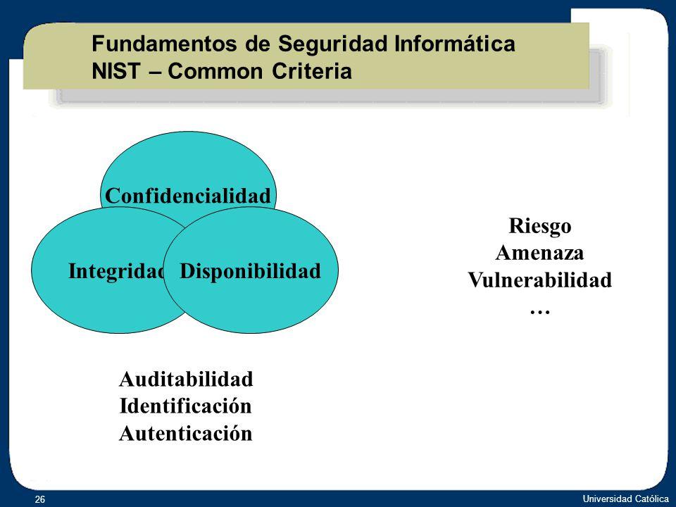 Fundamentos de Seguridad Informática NIST – Common Criteria