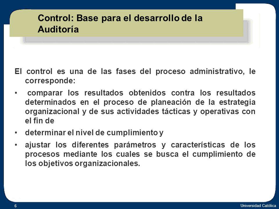 Control: Base para el desarrollo de la Auditoría
