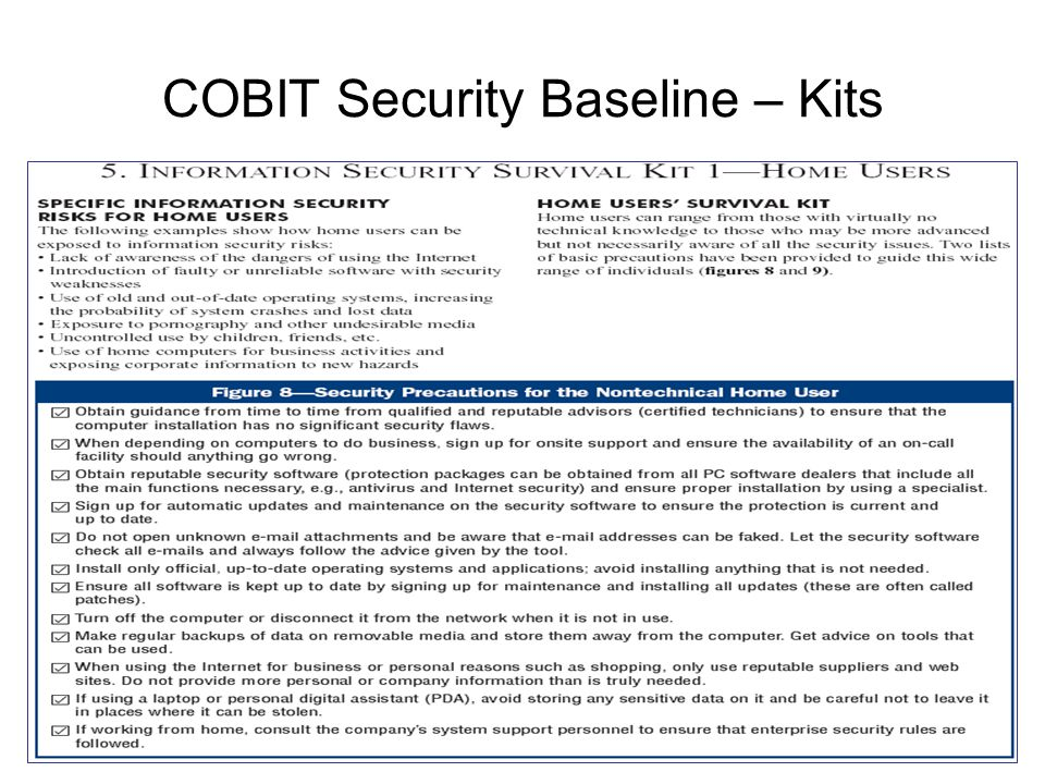 COBIT Security Baseline – Kits