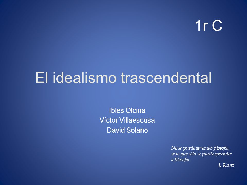 El idealismo trascendental