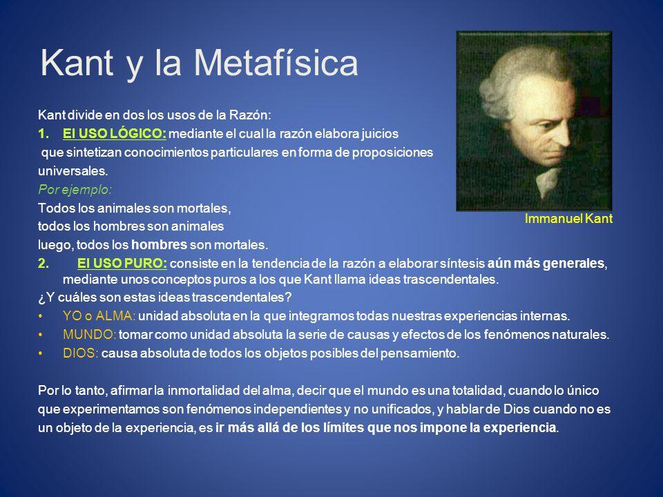 Kant y la Metafísica Kant divide en dos los usos de la Razón: